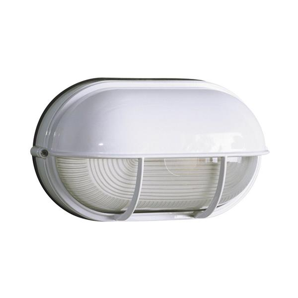 Galaxy Marine 6.5-in White Hooded Frosted Glass Outdoor Wall Light