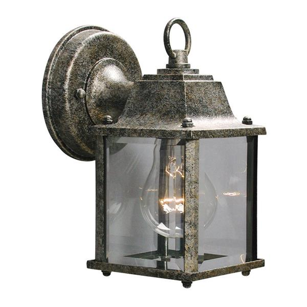 Galaxy 8-in Antique Silver Clear Glass Outdoor Wall Light