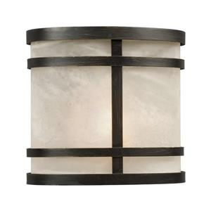 Galaxy 7.5-in Bronze Marbled Glass Outdoor Wall Light