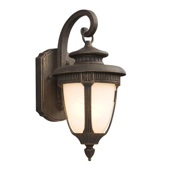 Galaxy 14.50-in Royal Bronze White Glass Outdoor Wall Light