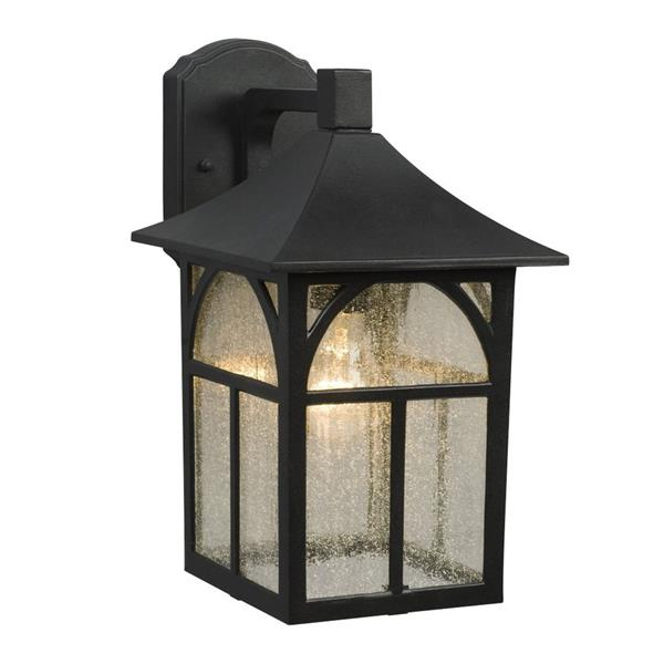 Galaxy 14.25-in Black Seeded Glass Outdoor Wall Light