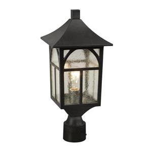Galaxy 18-in Black Clear Seeded Glass Post Light