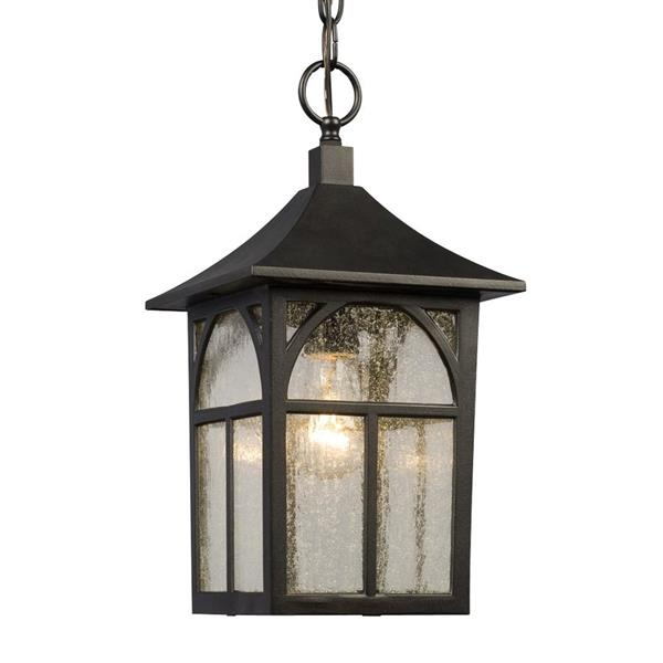 Galaxy 8-in Black Seeded Glass Mission Lantern Outdoor Pendant Lighting