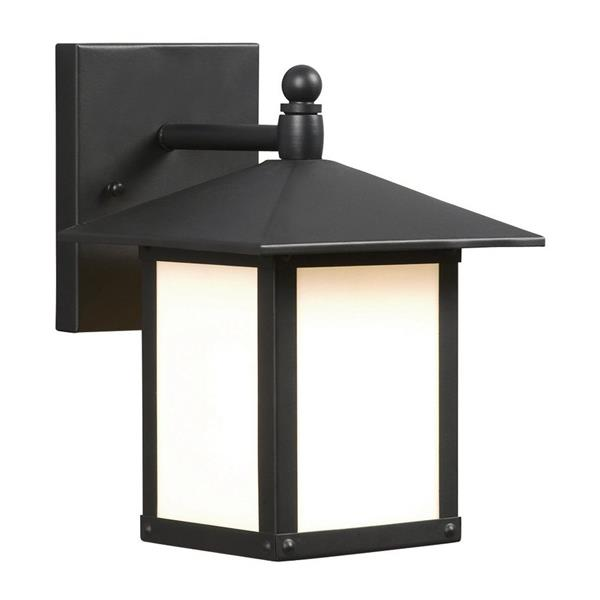Galaxy 9-in Black White Glass Outdoor Wall Light