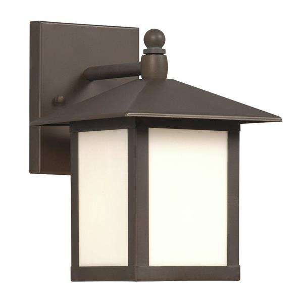 Galaxy 9-in Old Bronze White Glass Outdoor Wall Light