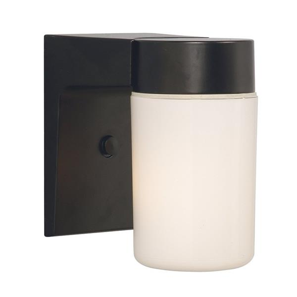 Galaxy 6.62-in Black White Glass Outdoor Wall Light