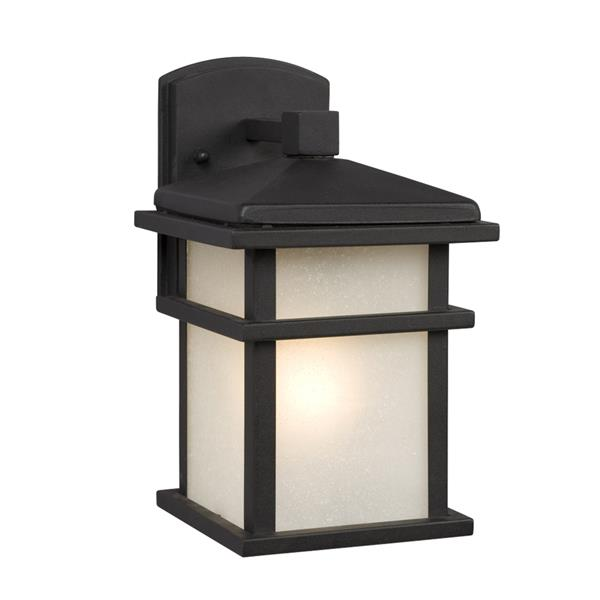 Galaxy 10.5-in Black Frosted Glass 1-Light Outdoor Wall Lantern