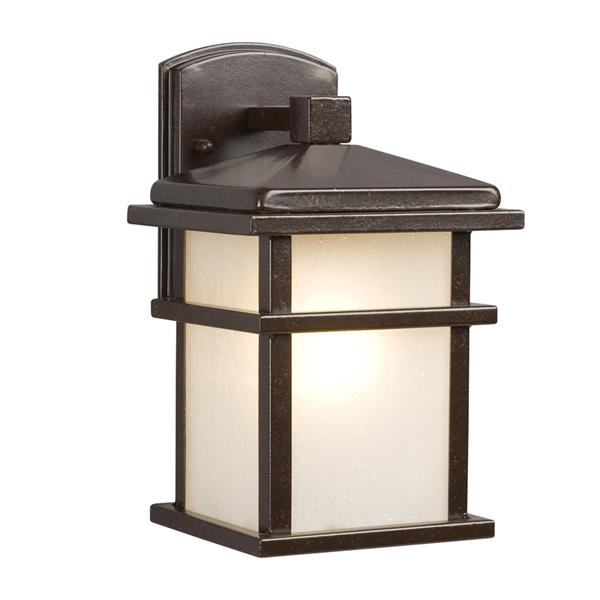 Galaxy 10.5-in Bronze Frosted Glass 1-Light Outdoor Wall Lantern