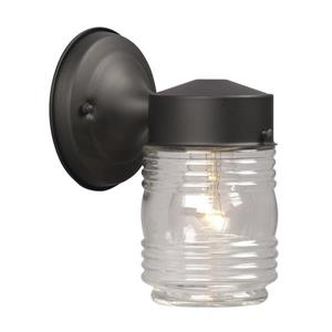 Galaxy 7.5-in Black Ribbed Glass Outdoor Wall Light