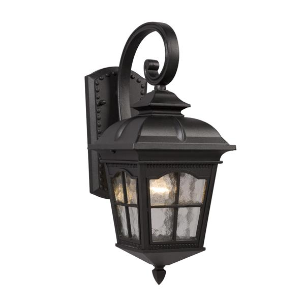 Galaxy 16.75-in Black Water Glass Outdoor Wall Light