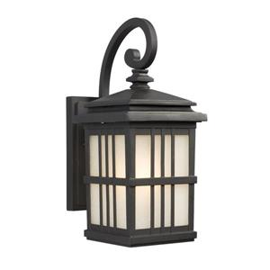 Galaxy 14.50-in Black Frosted Glass Outdoor Wall Light