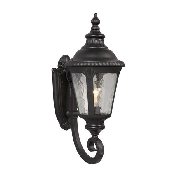 Galaxy 19.5-in Black Water Glass Outdoor Wall Light