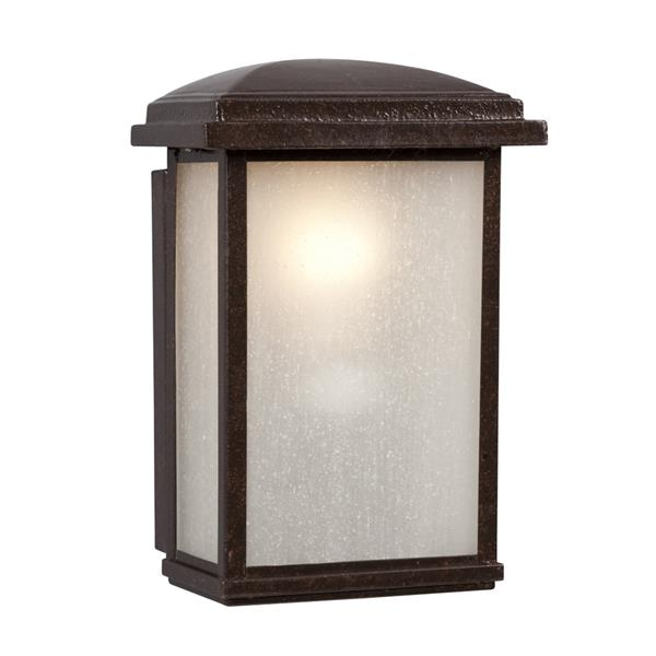 Galaxy 9.5-in Bronze Frosted Glass Outdoor Wall Light