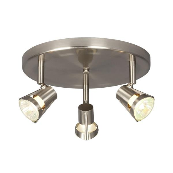 Galaxy 10.125-in Brushed Nickel 3-Light Flush Mount Fixed Track Light Kit