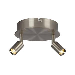 Galaxy Genus 2-Light Brushed Nickel 6.75-in x 6.75-in x 5.12-in Semi-Flush Mount