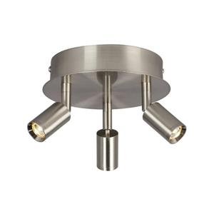 Galaxy Genus 3-Light Brushed Nickel 6.75-in x 6.75-in x 5.12-in Semi-Flush Mount