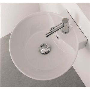 Nameeks Scarabeo Sfera White Wall-Mount Round Bathroom Sink with Overflow