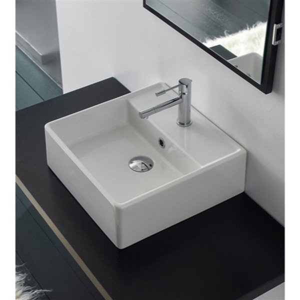 Nameeks Scarabeo Teorema White Wall-Mount Square Bathroom Sink with Overflow