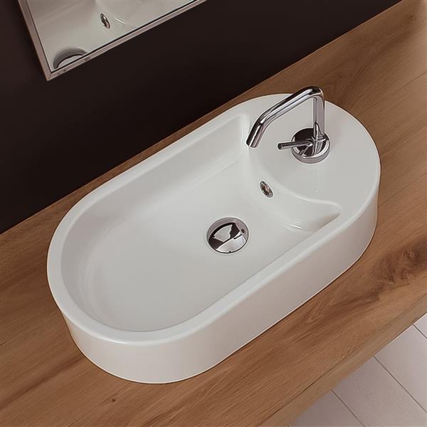 Nameeks Seventy 16.10-in x 8.70-in x 5-in White Ceramic Washbasin Vessel Sink