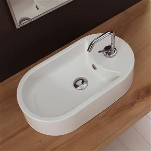 Nameeks Seventy 16.10-in x 8.70-in x 5-in White Ceramic Washbasin Vessel Sink