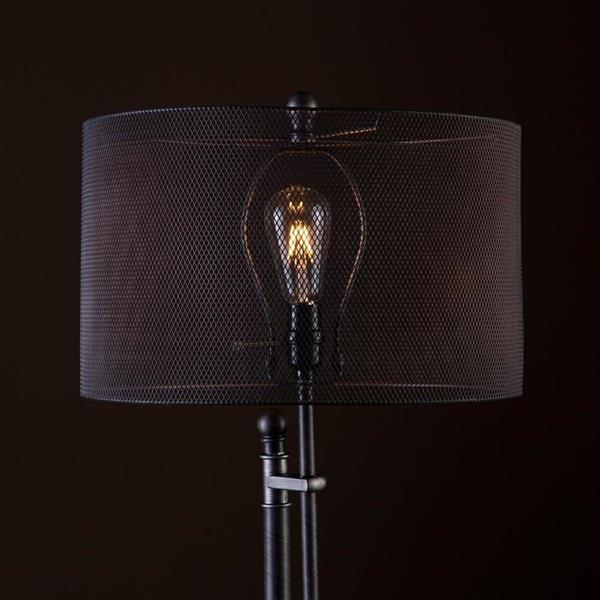 Boston Loft Furnishings 66-in Brushed Gunmetal Rotary Socket Stick Built-in Table Floor Lamp with Metal Shade