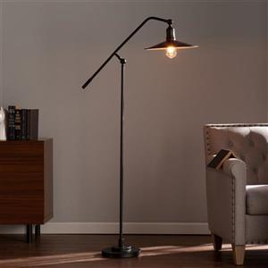 Boston Loft Furnishings 70.25-in Matte Black Rotary Socket Downbridge Floor Lamp with Metal Shade