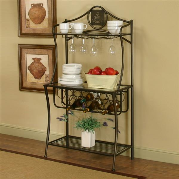 Sunset Trading 32-in x 50-in Medium Brown Metal Bakers Rack With Wine Storage
