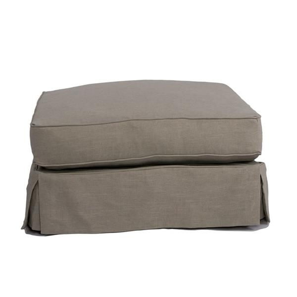 Sunset Trading Americana Coastal 18.30-in x 32.70-in  Light Gray Ottoman