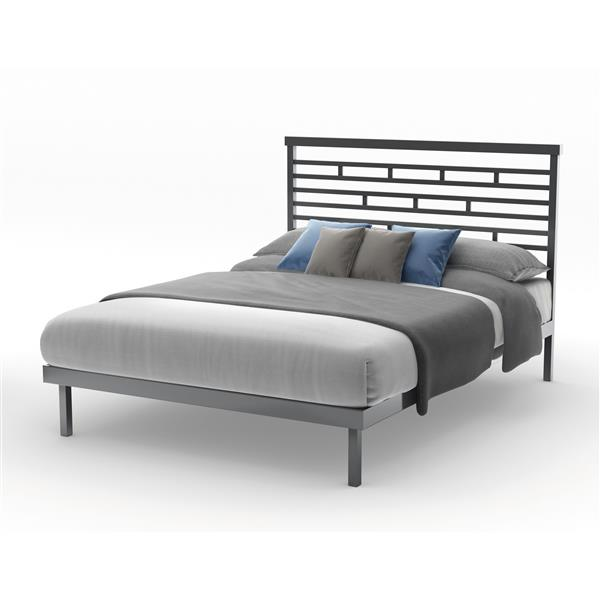 Amisco Highway Glossy Grey Queen Platform Bed Frame