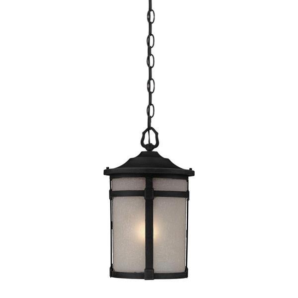 Artcraft Lighting St. Moritz Rich Black White Glass Traditional Pendant Lantern