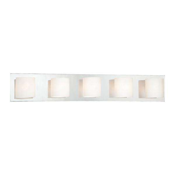 Eurofase Geos 30.75-in 5- Light Satin Nickel Cylinder Vanity Light