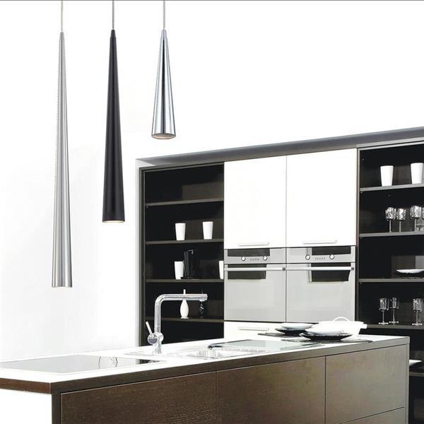 Eurofase Sliver 2.75-in x 36-in Black Modern Mini Cone Pendant