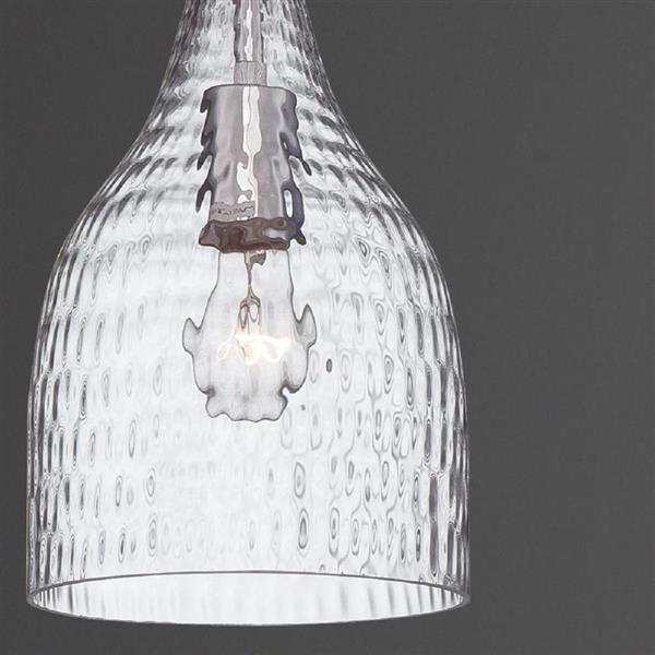 Eurofase Altima 10-in Chrome Textured Glass Modern Bell Pendant