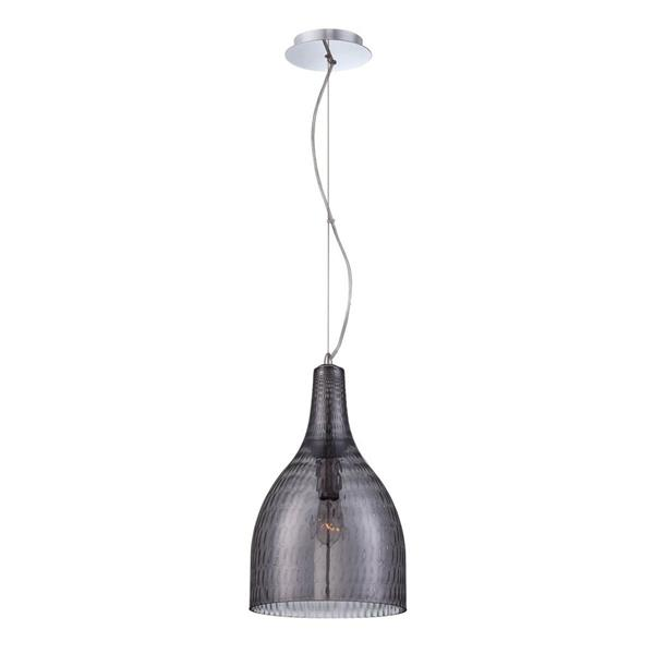 Eurofase Altima 10-in Chrome Textured Smoke Glass Modern Bell Pendant