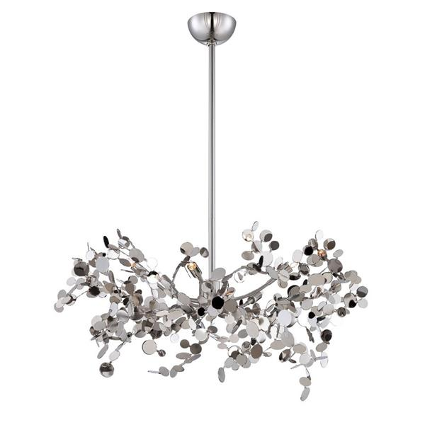 Eurofase Divo Collection 54-in Nickel 5-Light Modern Abstract Chandelier