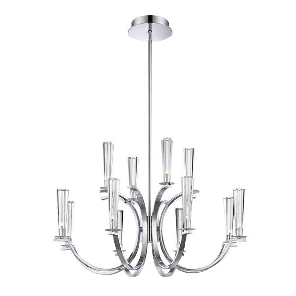 Eurofase Cromo Collection 42-in Polished Chrome Clear Glass 12-Light Modern Tiered Chandelier