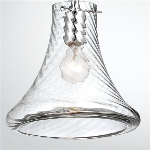 Eurofase Bloor 15-in Chrome Clear Textured Glass Modern Bell Pendant