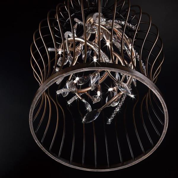 Eurofase Lighting Fanta 16-in Oil Rubbed Bronze / Silver Rustic Crystal Cage 10-Light Pendant Lighting
