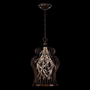 Eurofase Lighting Fanta 16-in Oil Rubbed Bronze / Silver Rustic Crystal Cage 10-Light Pendant Lighting