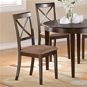 East West Furniture Boston 18-in X 38.5-in Cappuccino Side Chairs (Set of 2)