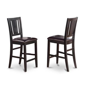 East West Furniture Buckland Casual 24-in Brown Counter Stools With Faux Leather Seats (Set of 2)