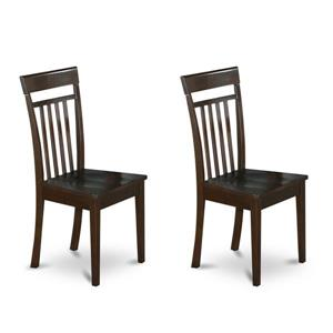 East West Furniture Capri 16.5-in X 38.5-in Cappuccino Side Chairs (Set of 2)