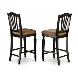 East West Furniture Chelsea 24-in Black Counter Stools (Set of 2)
