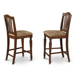 East West Furniture Chelsea 17.75-in x 24-in Brown Casual Mahogany Counter Stools (Set of 2)