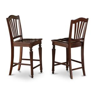 East West Furniture 17.25-in x 24-in Chelsea Casual Mahogany Counter Stools (Set of 2)