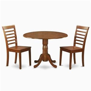 East West Furniture Dublin Sadle Brown 3 Piece Dining Set with Round Dining Table
