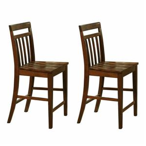 East West Furniture 17-in x 24-in Casual Dark Oak Counter Stools