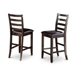 East West Furniture Fairwinds 17-in x 41-in Brown Casual Cappuccino Counter Stools (Set of 2)