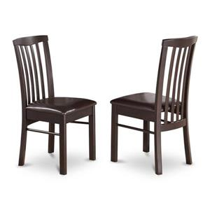 East West Furniture Hartland 17.5-in X 38-in Cappuccino Side Chairs (Set of 2)