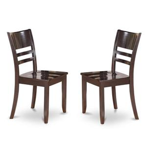 East West Furniture Lynfield 18.5-in X 36-in  Cappuccino Side Chairs (Set of 2)